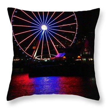Patriotic Ferris Wheel Throw Pillow by Kym Backland