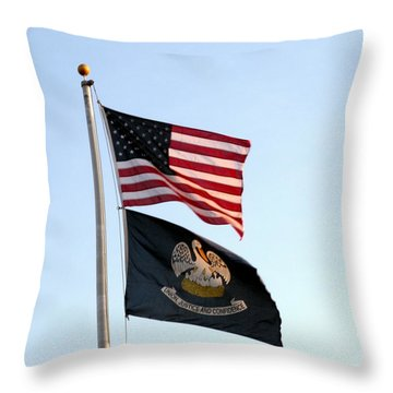 Throw Pillow featuring the photograph Patriotic Flags by Joseph Baril