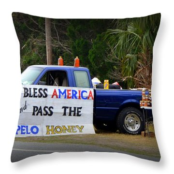 Patriotic Honey Salesman Throw Pillow by Carla Parris