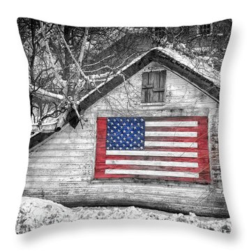 Patriotic American Shed Throw Pillow