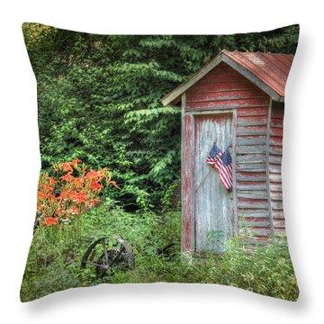 Patriotic Outhouse Throw Pillow