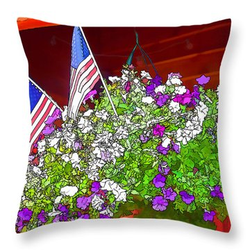 Patriotic Pansies Throw Pillow