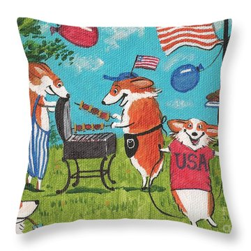 Patriotic Pups Throw Pillow by Margaryta Yermolayeva