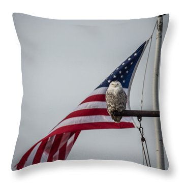Patriotic Snow Owl Throw Pillow