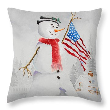 Patriotic Snowman Throw Pillow