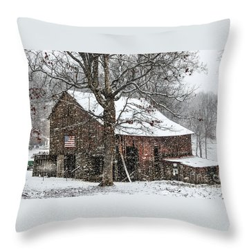 Patriotic Tobacco Barn Throw Pillow by Debbie Green