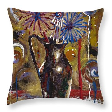 Throw Pillow featuring the painting Patriotism Blooms by Margaret Bobb