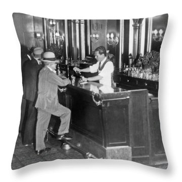 Patrons At A Speakeasy In Sf Throw Pillow