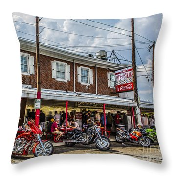 Pat's King Of Steaks Throw Pillow by Diane Diederich