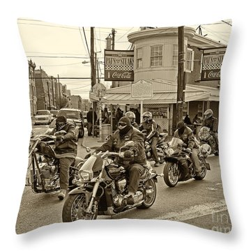 Pat's With Cycles Throw Pillow by Jack Paolini
