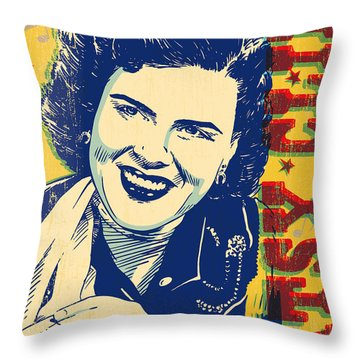 Patsy Cline Pop Art Throw Pillow