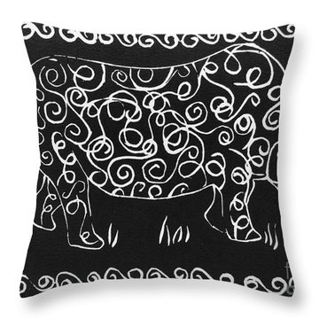 Patterned Rhino Throw Pillow by Caroline Street