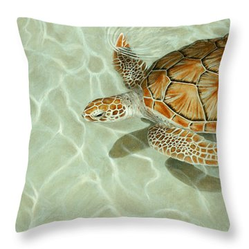 Patterns In Motion - Portrait Of A Sea Turtle Throw Pillow