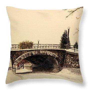 Patterson Creek Bridge In Winter Throw Pillow by Betty-Anne McDonald