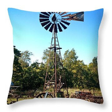 Patterson Windmill Throw Pillow by Marty Koch