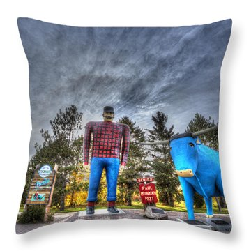 Paul Bunyan And Babe The Blue Ox In Bemidji Throw Pillow