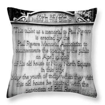 Paul Revere Burial Plaque Boston Massachusetts Throw Pillow