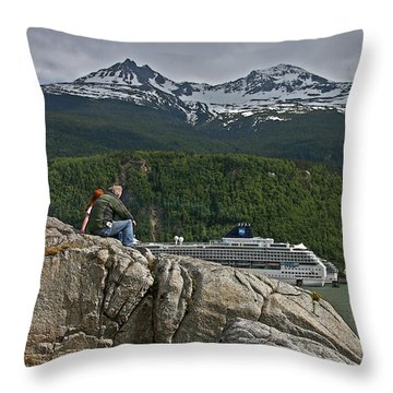 Pause In Wonder At Cruise Ships In Alaska Throw Pillow by John Haldane