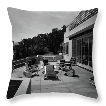 Paved Terrace At The Residence Of Mr. And Mrs Throw Pillow