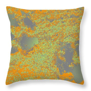 Paw Prints In Orange And Grey Throw Pillow