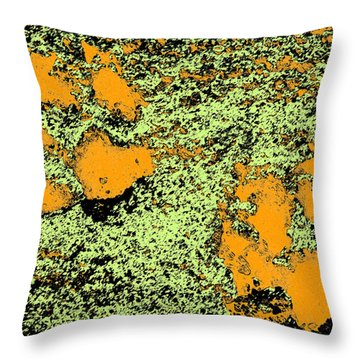 Paw Prints In Orange Lime And Black Throw Pillow