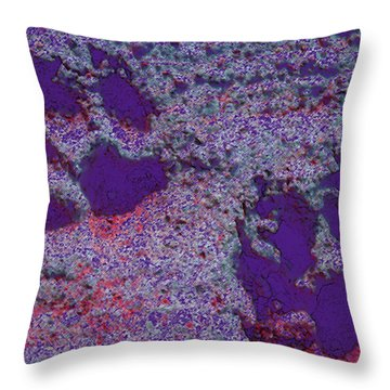 Paw Prints In Purple With Red Glow Throw Pillow