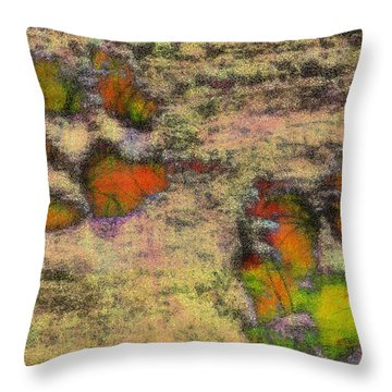 Paw Prints Like Butterflies Muted Throw Pillow