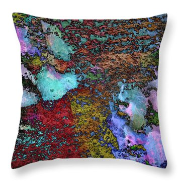 Paw Prints Lilac And Turquoise Pads Throw Pillow