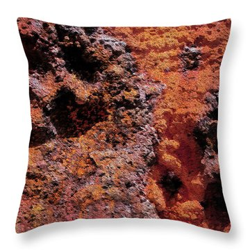 Paw Prints Rust Over Time Throw Pillow