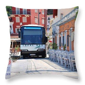 Paxos Island Bus Throw Pillow