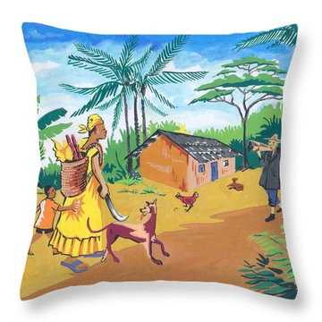 Throw Pillow featuring the painting Paysage Du Sud Du Cameroon by Emmanuel Baliyanga