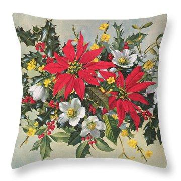 Christmas Flowers Throw Pillow