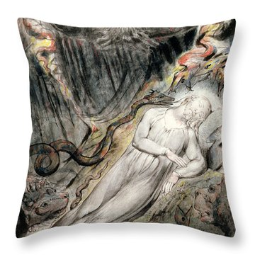 Pd.20-1950 Christs Troubled Sleep Throw Pillow by William Blake