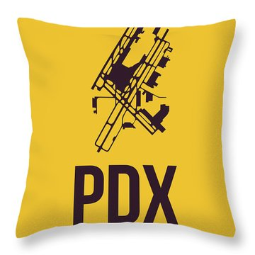 Pdx Portland Airport Poster 3 Throw Pillow