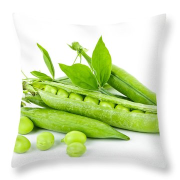 Pea Pods And Green Peas Throw Pillow by Elena Elisseeva