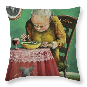 Pea Soup And Cabernet Throw Pillow by Shelly Wilkerson
