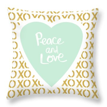 Peace And Love In Aqua And Gold Throw Pillow