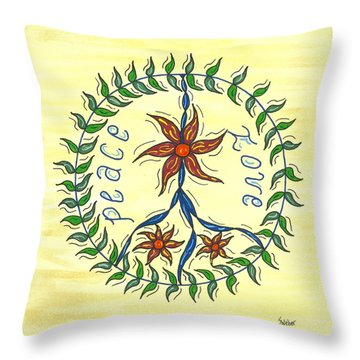Peace And Love Throw Pillow by Susie WEBER