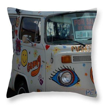 Peace And Love Van Throw Pillow by Dany Lison