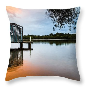 Peace At Pete's Jetty Throw Pillow by Peta Thames