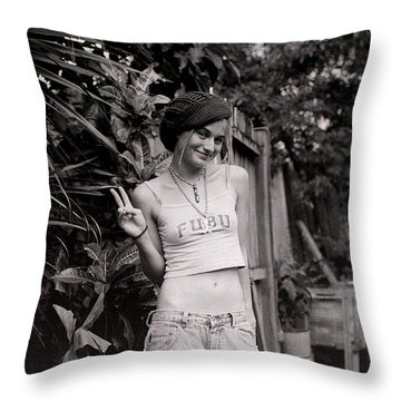 Throw Pillow featuring the photograph Peace Chick by Greg Allore
