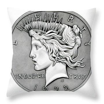 Graphite Peace Dollar Throw Pillow