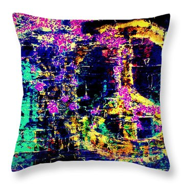 Throw Pillow featuring the photograph Peace Graffiti by Suzanne Stout