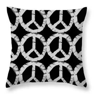 Peace In Black And White Throw Pillow by Michelle Calkins