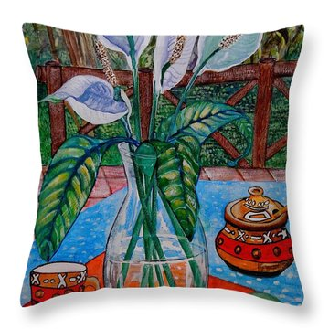 Peace Lilies On The Patio Throw Pillow by Caroline Street