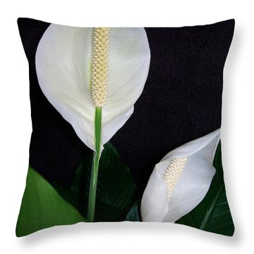 Throw Pillow featuring the photograph Peace Lilies by Sharon Duguay