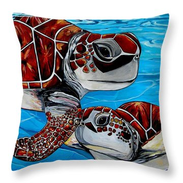 Peace Love And Turtles Throw Pillow