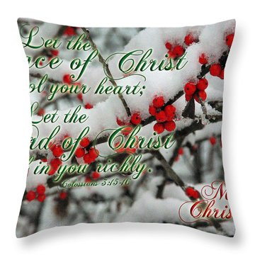 Peace Of Christ Holly Throw Pillow by Robyn Stacey