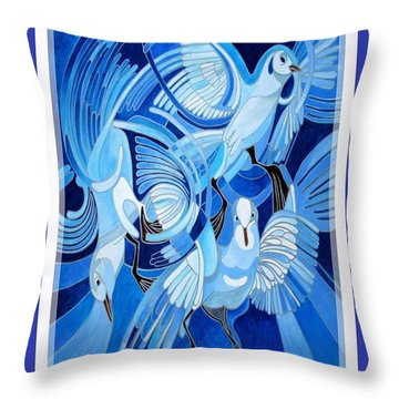 Peace On Earth Greetings With Doves  Throw Pillow by Tracey Harrington-Simpson