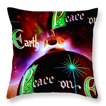 Throw Pillow featuring the photograph Antique Peace On Earth Christmas Ornaments by Vizual Studio